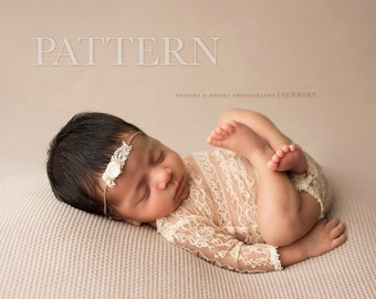 NEWBORN ROMPER PATTERN - Sewing Pattern,  Adelynn Long Sleeve Romper | Newborn Photography Prop Pattern