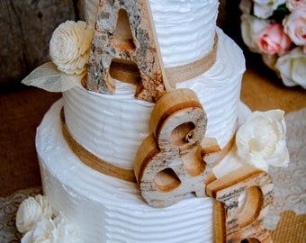 Rustic Wedding Cake Topper, Wood Letter, Bride & Groom Initials Cake Toppers,High Quality Real Wood,Woodland Bohemian Wedding,Mr Mrs Initial