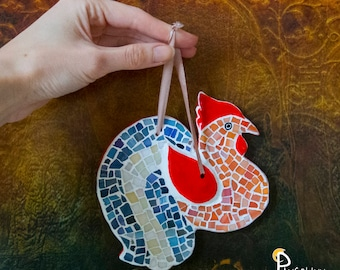 Rooster Wall Hanging, Rooster Wall Decor, Rooster Figurine, Mosaic Decor, Mosaic wall decor, Rooster decor