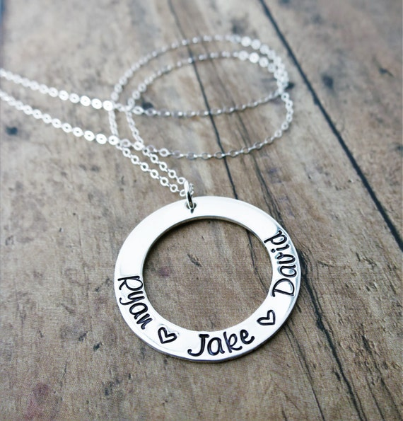 Custom Mother's Necklace | Washer Necklace | Mommy Necklace | Gift for Mom | Gift for Grandma | Sterling Silver Jewelry | Keepsake Jewelry