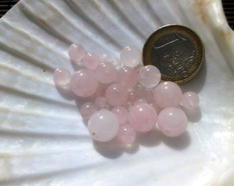 lot of PINK QUARTZ beads, natural stone bead, round beads, semi precious stone, 10mm 8mm 6mm and 4mm