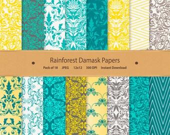 Rainforest Damask Digital Paper Floral Digital Paper Floral Scrapbook Paper Yellow Floral Blue Printable Floral Background Damask Pattern