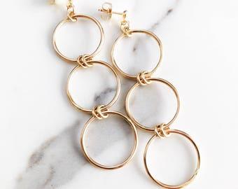 Mohala Hoop Earring - Gold Hoop Earring, Gold Earring, Gold Circle Stud Earring, Gold Post Earring, Gold Dangle Earring Hawaii Earring