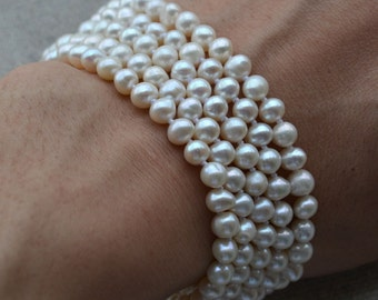 pearl bracelet - 5 Rows 7.5 inches 5-6mm white Freshwater Pearl Bracelet Wedding jewlery, real pearl bracelet, statement bracelet