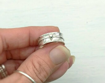 Spinning Meditation Ring - Wide Sterling Silver Band with Spinner - Anxiety Spin Ring - Stress Relief Gift for Her - Mother's Day for Mom