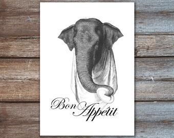 Elefanten Poster - Bon Appetit drucken, Französisch Dekor