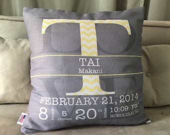 New mother gift, nursery pillow, grey yellow nursery, nursery accents, birth announcement, new baby gift, baby boy nursery, birth stats