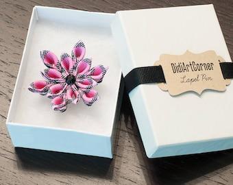 Poinsettia Lapel Pin, Pink Poinsettia Kanzashi Inspired Flower Lapel Pin with Black Crystal, Christmas Lapel Pin, Holiday Lapel Pin