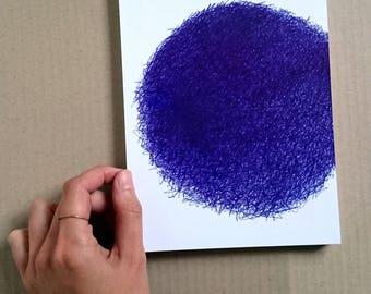 drawing/imperfect circle/original pen drawing/blue/wall art//gift