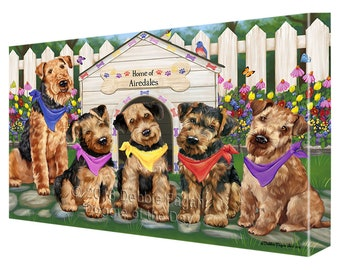 Spring Dog House Airedale Terriers Dog Canvas Wall Art