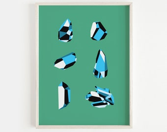 Crystals, signed print, 40 x 30cm