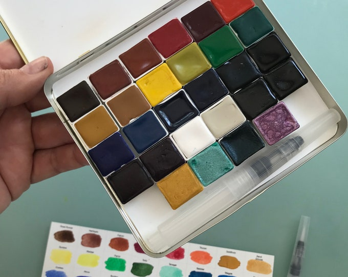 Limited Edition Watercolor Handmade Paint 28 HALF pans  non toxic watercolor paint set in VINTAGE Tobacco Tin (includes 4 Shimmery paints)