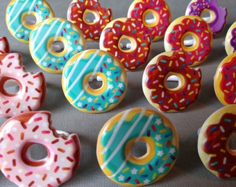 24 SPRINKLE DONUT cupcake rings party toppers cake picks Birthday Party favor first rainbow doughnut breakfast teen tween frosting coffee