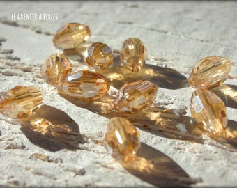 Pearls warheads faceted 6 x 8 mm amber Gold 6 x 8 mm X 10