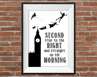 Second Star To The Right And Straight On Till Morning-  Peter Pan Quote (Clock And White BG) -  Printable Wall Art Typography Digital Print
