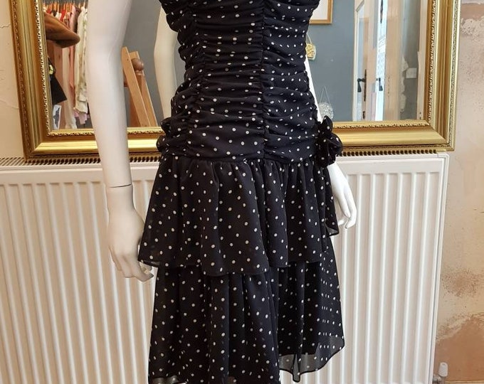 80's 1980s Vintage Polka Dot Strapless Ruffle Skirt Cocktail Dress with Corsage xs S