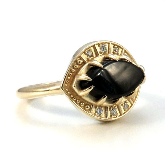 Marquise Onyx and Diamond Engagement Ring - Evil Eye Third Eye 14k Yellow Gold