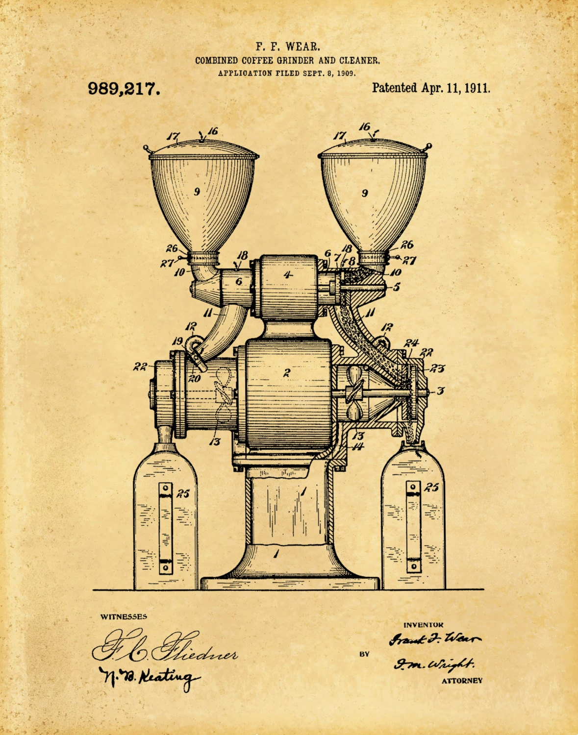 Patent 1909 Coffee Grinder Patent - Wall Art - Coffee Mill ...