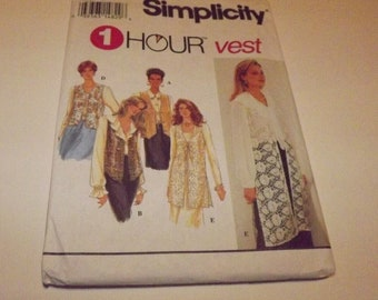 Vintage Simplicity 1 Hour Vest Sewing Pattern 8744 Size AA (XS,S,M)