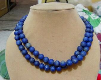 1 Strand   Lapis lazuly  Mate polished Round  beads   16''  70, grams