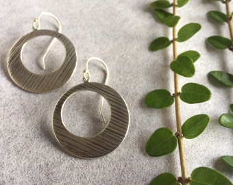 Large Silver Disc Earrings, Large Silver Earrings, Silver Geometric Earrings, Open Circle Silver Earrings, Textured Circle Earrings