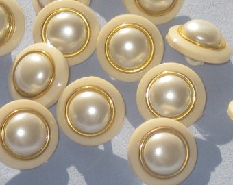Set 14 Cream Ivory and gold tone new fancy cab buttons with shank 16mm 5/8""