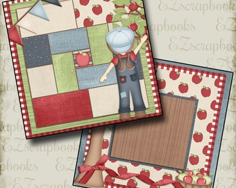 APPLE PICKING  - 2 Premade Scrapbook Pages - EZ Layout 298