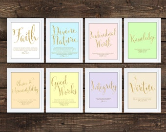 Young Women Values Printables, Colors with Faux Glitter Font 8x10 Each, LDS Downloadable Young Women, CHALKBOARD Style Printable
