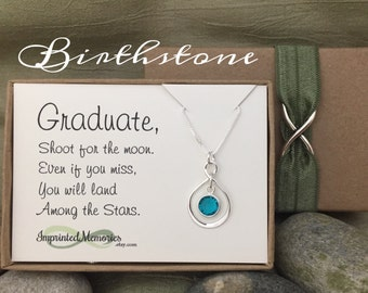Graduate Gift for Her Graduation - Sterling Silver Birthstone Necklace - High School Graduation Gift Class of 2018 Graduation Gift for Girl