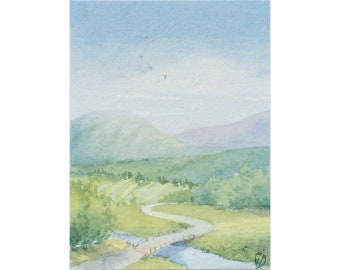 Original ACEO watercolor painting - Just cross the river