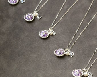 Gemstone Initial Necklace Bridesmaid, Wedding Party Jewelry Set of 6, Silver Bridesmaid Necklace, Bridal Party Favors