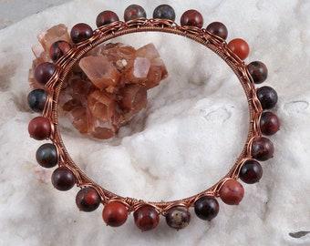 Brecciated Jasper Poppy Jasper Copper Wire Wrapped Bangle Bracelet