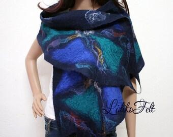 COBALT BLUE GREEN Felted Boho Gypsy Wool Scarf Shawl Wrap