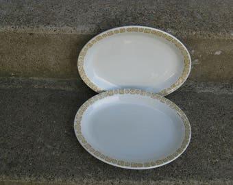 senango ironstone platters daisy pattern restaurantware wel roc rim rol 1960s kitchen