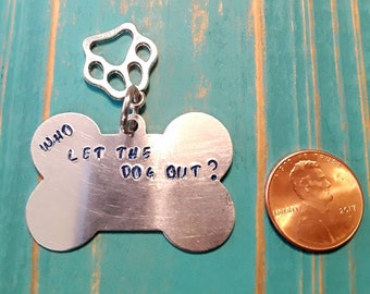 Handmade hand stamped aluminum pet ID tag with Paw charm. PERSONALIZED!