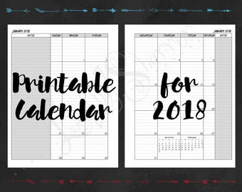 2018 Printable Calendar Planner