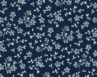 By The HALF YARD - Ditzy Floral on Navy, White Flowers on Blue, Basic, Blender