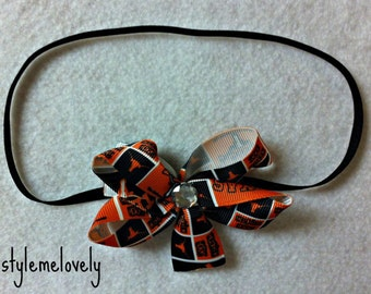 Texas Longhorns Baby Girl Boutique Bow Elastic headband