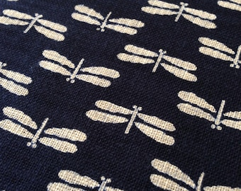 Sevenberry dragonfly tombo navy indigo blue Japanese cotton fabric