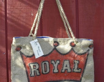 Rustic Upscaled Recycled Coffee Roaster Burlap Sack Tote Bag