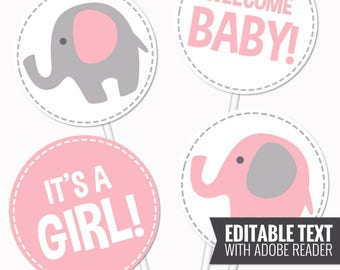 Elephant Baby Shower Centerpieces. Pink Table Centerpieces - Pink and Gray Neutral Baby Shower Circles - Editable Elephant Centerpieces