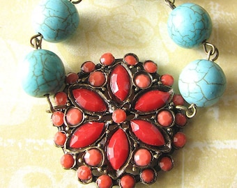 Coral Necklace Statement Necklace Turquoise Jewelry Beaded Necklace Gemstone Necklace