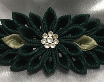 Forest Green And Willow Green Kanzashi Style French Barrette