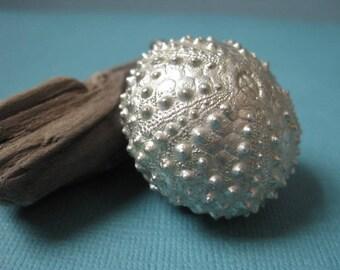 Silver Leaf Sea Urchin Pendant, Real Sea Urchin Shell