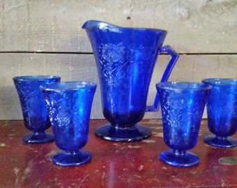 Water pitcher & tumbler set cobalt blue glass