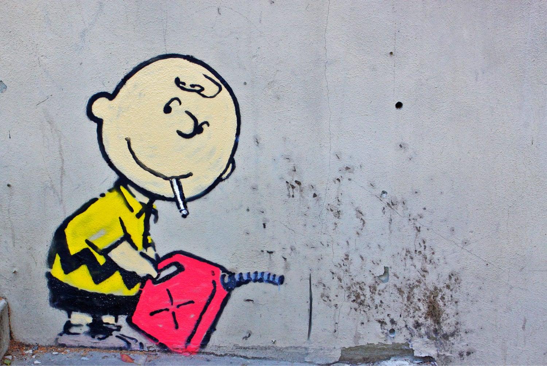 BANKSY Canvas Charlie Brown Gasoline Banksy Graffiti Wall Art