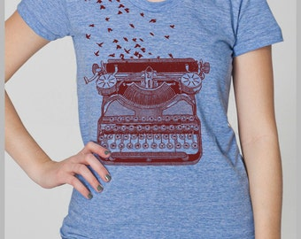 Typewriter Birds Writer's Inspiration Women's T Shirt Freedom of Speech Unique Theme Gift American Apparel Tee s, m, l, xl 8 colors IR4