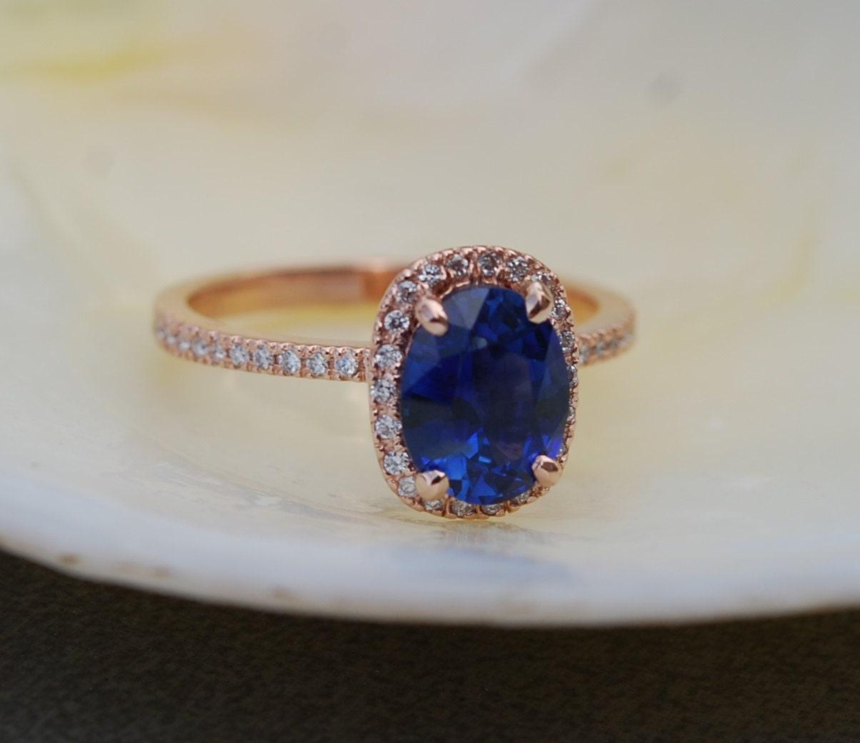 Popular Rose gold sapphire ring. 2.57ct Royal blue sapphire diamond ring  TI51