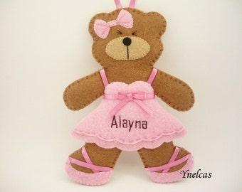 Personalized Felt Bear Ballerina - Felt Bear Ornament - Baby Girls Pink Ornament  2018 - Felt Christmas Ornament