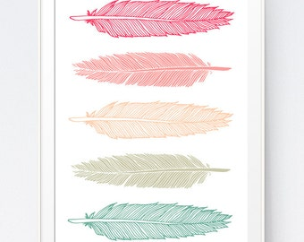 Feather Print, Mint and Coral, Feather Art, Mint Art, Coral Art, Mint Print, Coral Print, Mint Coral, Feather Wall Art, INSTANT DOWNLOAD